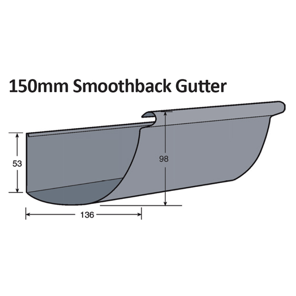 150mm Smoothback Gutter