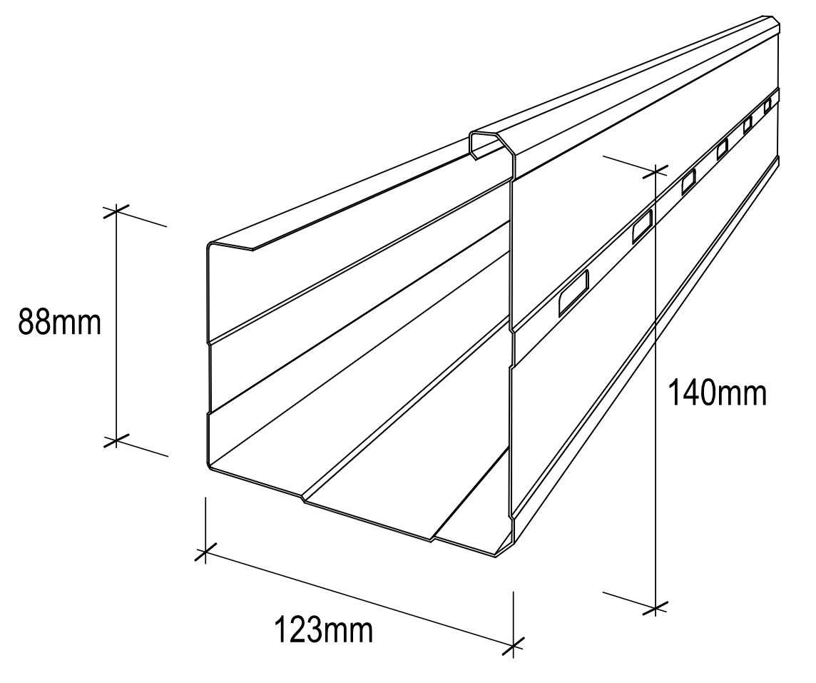 Stramit® S Pattern (Stiffened Back) Gutter dimensions