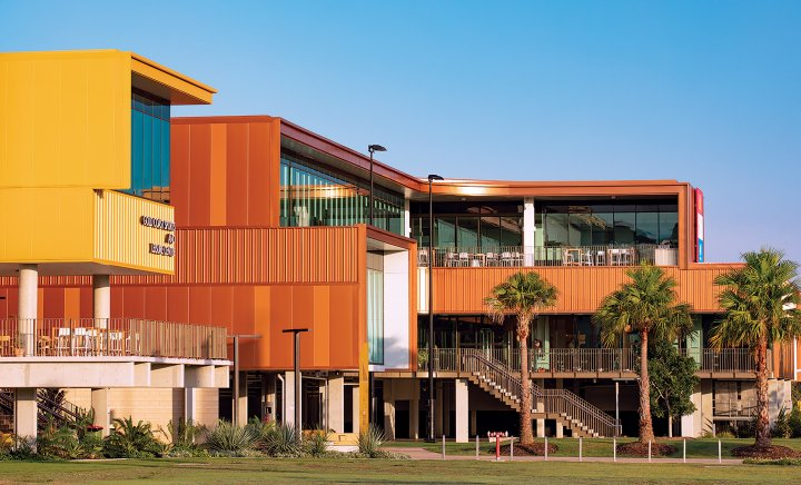 Gold Coast Sports and Leisure Centre (Architect: BVN; Builder: Hansen Yuncken) - Featuring COLORBOND® Metallic steel in the colours COPPER PENNY®, CARRARA GOLD®, TEMPLE GOLD® and COPERNICUS®